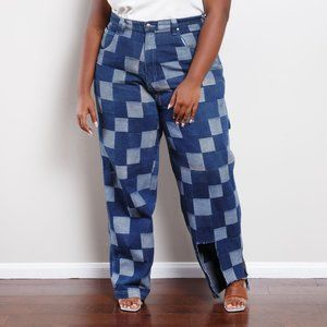 90s Checkered Jeans
